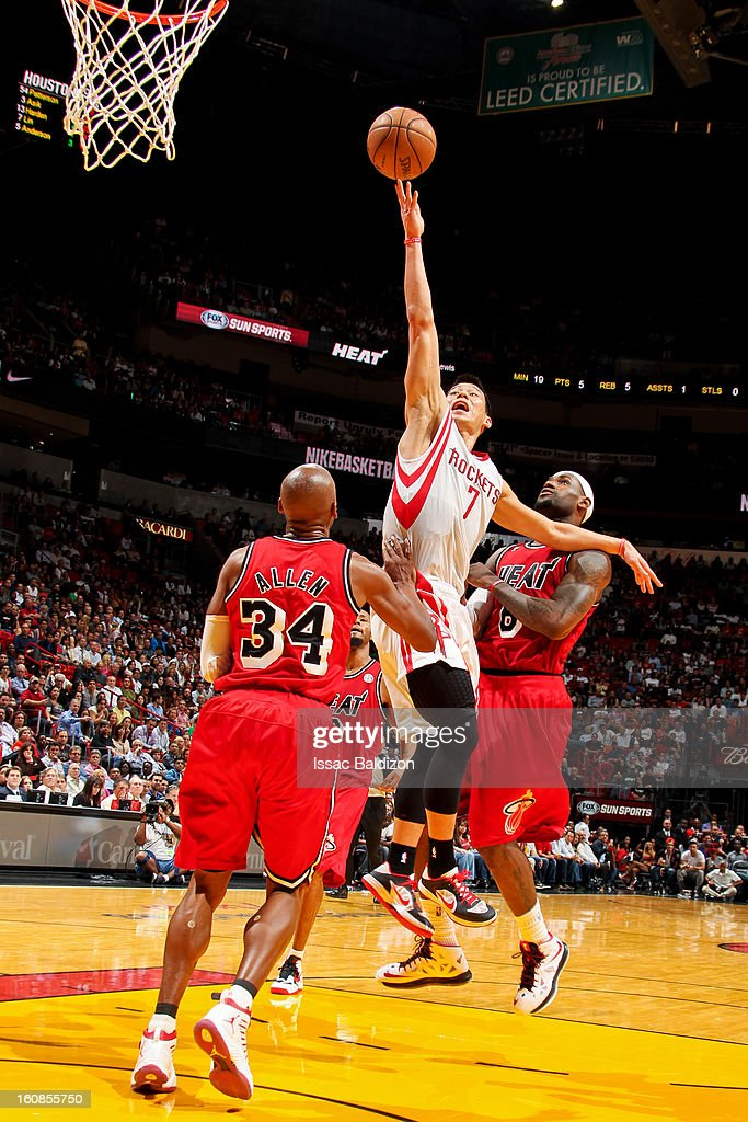 <a gi-track='captionPersonalityLinkClicked' href=/galleries/search?phrase=Jeremy+Lin&family=editorial&specificpeople=6669516 ng-click='$event.stopPropagation()'>Jeremy Lin</a> #7 of the Houston Rockets drives to the basket against <a gi-track='captionPersonalityLinkClicked' href=/galleries/search?phrase=Ray+Allen&family=editorial&specificpeople=201511 ng-click='$event.stopPropagation()'>Ray Allen</a> #34 and <a gi-track='captionPersonalityLinkClicked' href=/galleries/search?phrase=LeBron+James&family=editorial&specificpeople=201474 ng-click='$event.stopPropagation()'>LeBron James</a> #6 of the Miami Heat on February 6, 2013 at American Airlines Arena in Miami, Florida.