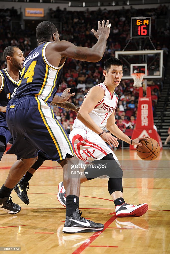 <a gi-track='captionPersonalityLinkClicked' href=/galleries/search?phrase=Jeremy+Lin&family=editorial&specificpeople=6669516 ng-click='$event.stopPropagation()'>Jeremy Lin</a> #7 of the Houston Rockets drives to the basket against the Utah Jazz on December 1, 2012 at the Toyota Center in Houston, Texas.