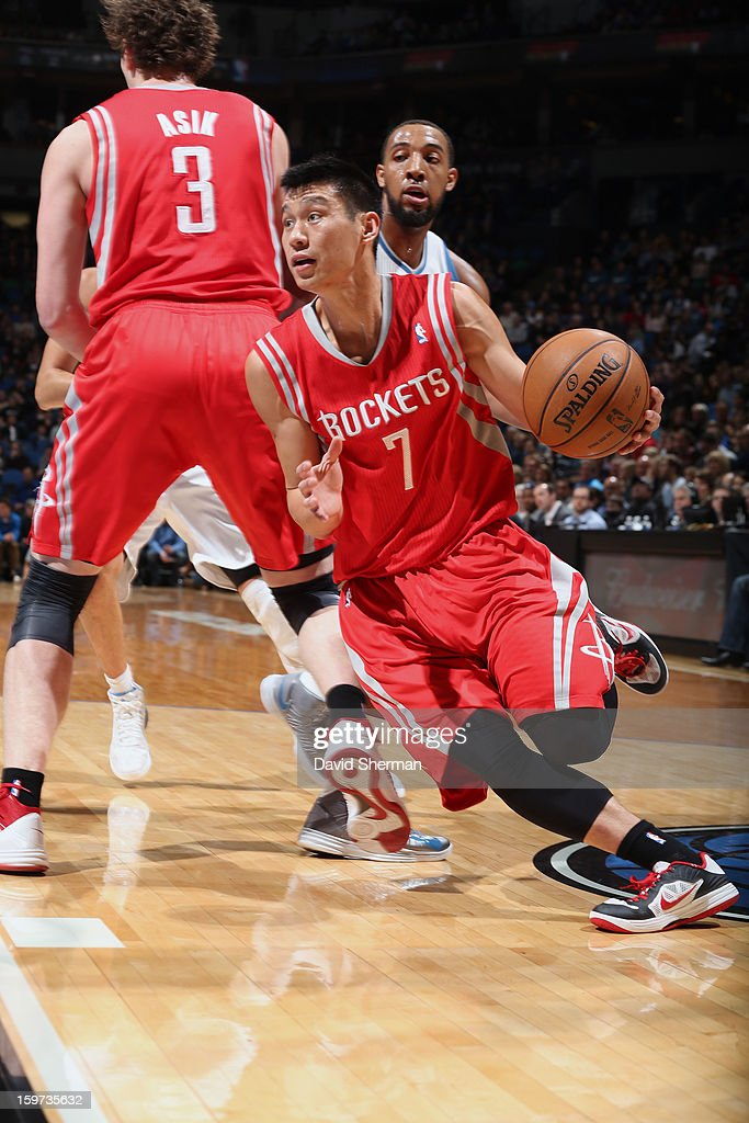 Jeremy Lin #7 of the Houston Rockets drives to the basket against the Minnesota Timberwolves during the game on January 19, 2013 at Target Center in Minneapolis, Minnesota.