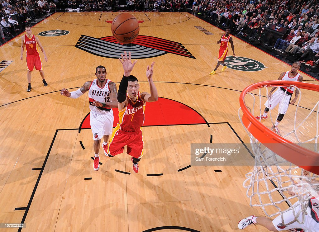 <a gi-track='captionPersonalityLinkClicked' href=/galleries/search?phrase=Jeremy+Lin&family=editorial&specificpeople=6669516 ng-click='$event.stopPropagation()'>Jeremy Lin</a> #7 of the Houston Rockets drives to the basket against the Portland Trail Blazers on April 5, 2013 at the Rose Garden Arena in Portland, Oregon.