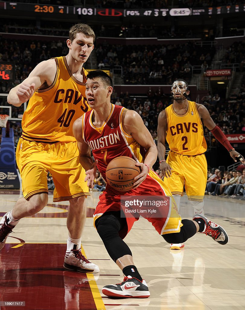 Jeremy Lin #7 of the Houston Rockets drives to the basket against Tyler Zeller #40 of the Cleveland Cavaliers at The Quicken Loans Arena on January 5, 2013 in Cleveland, Ohio.
