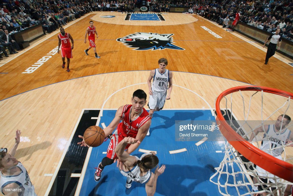 Jeremy Lin #7 of the Houston Rockets drives to the rim against the Minnesota Timberwolves during the game on January 19, 2013 at Target Center in Minneapolis, Minnesota.