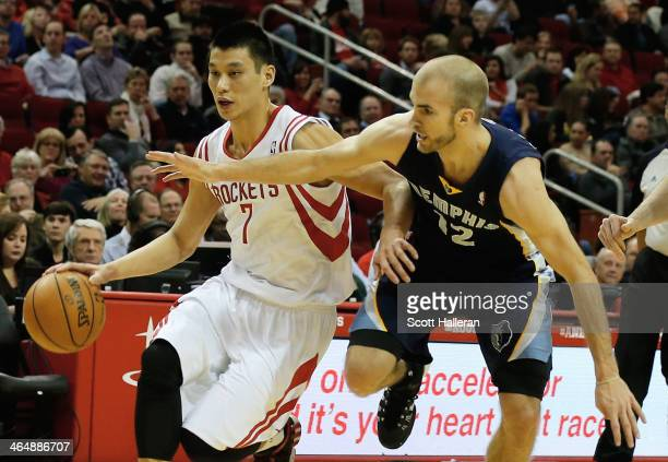 Jeremy Lin of the Houston Rockets drives with the bal against Nick Calathes of the Memphis Grizzlies during the game at the Toyota Center on January...