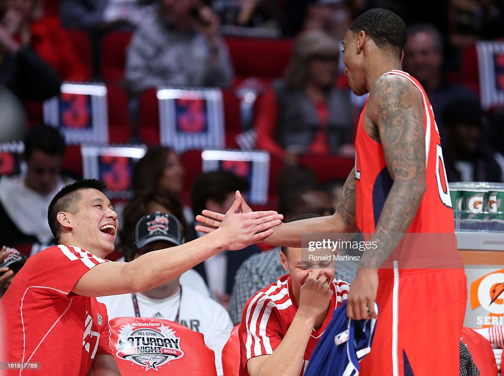 Jeremy Lin of the Houston Rockets gives a five to Jeff Teague of the Atlanta Hawks after Teague competes during the Taco Bell Skills Challenge part of 2013 NBA All-Star Weekend at the Toyota Center on February 16, 2013 in Houston, Texas.
