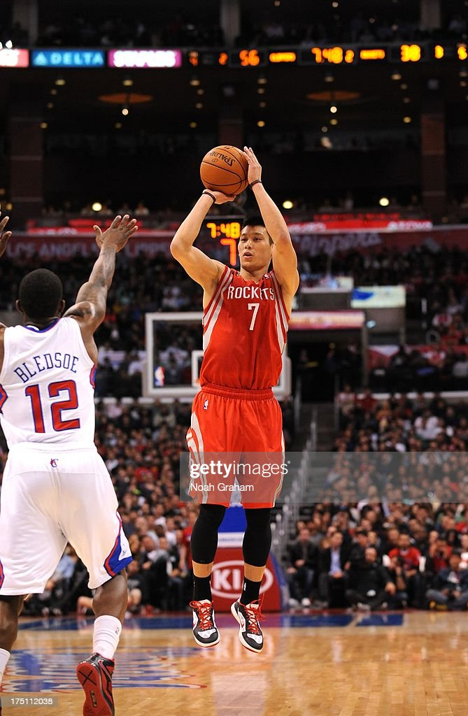 <a gi-track='captionPersonalityLinkClicked' href=/galleries/search?phrase=Jeremy+Lin&family=editorial&specificpeople=6669516 ng-click='$event.stopPropagation()'>Jeremy Lin</a> #7 of the Houston Rockets goes for a jump shot during the game between the Los Angeles Clippers and the Houston Rockets at Staples Center on February 13, 2013 in Los Angeles, California.