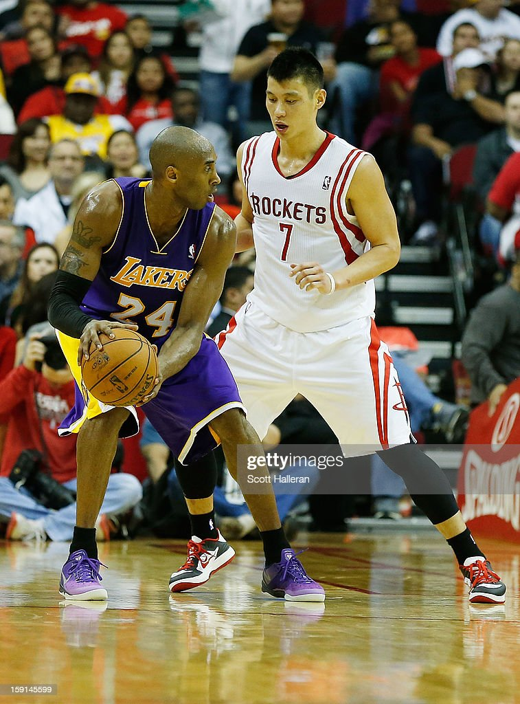 Jeremy Lin #7 of the Houston Rockets guards Kobe Bryant #24 of the Los Angeles Lakers at Toyota Center on January 8, 2013 in Houston, Texas.