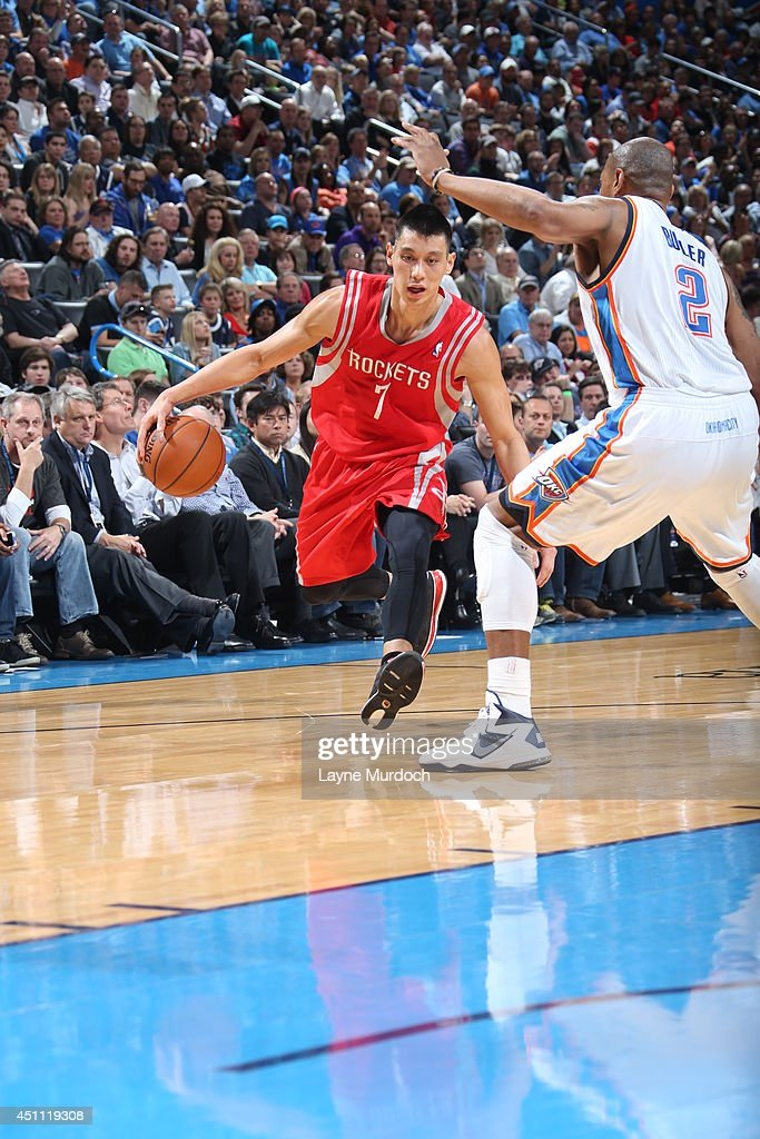 <a gi-track='captionPersonalityLinkClicked' href=/galleries/search?phrase=Jeremy+Lin&family=editorial&specificpeople=6669516 ng-click='$event.stopPropagation()'>Jeremy Lin</a> #7 of the Houston Rockets handles the ball against the Oklahoma City Thunder during an NBA game on March 11, 2014 at the Chesapeake Energy Arena in Oklahoma City, Oklahoma.