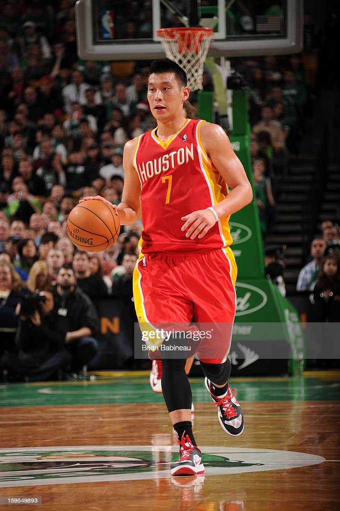 Jeremy Lin #7 of the Houston Rockets handles the ball up-court against the Boston Celtics on January 11, 2013 at the TD Garden in Boston, Massachusetts.
