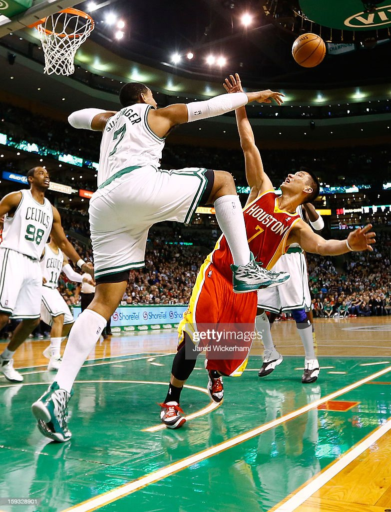 Jeremy Lin #7 of the Houston Rockets has his shot blocked by Jared Sullinger #7 of the Boston Celtics during the game on January 11, 2013 at TD Garden in Boston, Massachusetts.