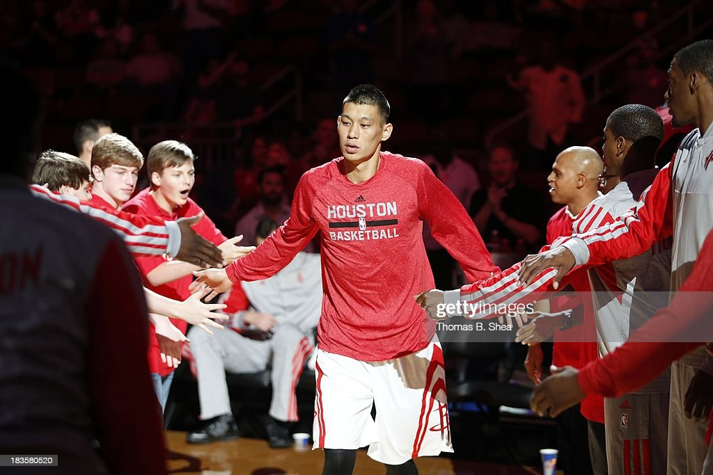 Jeremy Lin #7 of the Houston Rockets is introduced before playing against the New Orleans Pelicans in a preseason NBA game on October 5, 2013 at Toyota Center in Houston, Texas. The Pelicans won 116 to 115.