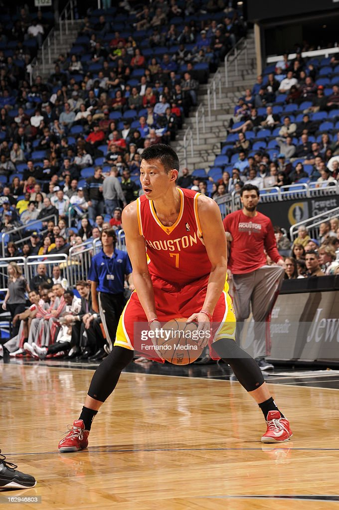Jeremy Lin #7 of the Houston Rockets looks cross court to pass the ball against the Orlando Magic during the game on March 1, 2013 at Amway Center in Orlando, Florida.