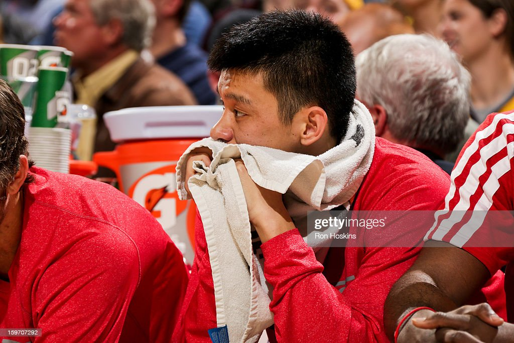 Jeremy Lin #7 of the Houston Rockets looks on from the bench during a game against the Indiana Pacers on January 18, 2013 at Bankers Life Fieldhouse in Indianapolis, Indiana.