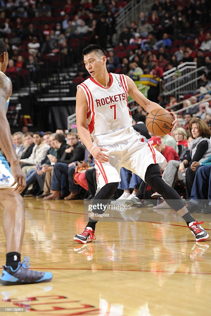 <a gi-track='captionPersonalityLinkClicked' href=/galleries/search?phrase=Jeremy+Lin&family=editorial&specificpeople=6669516 ng-click='$event.stopPropagation()'>Jeremy Lin</a> #7 of the Houston Rockets looks to drive to the basket against the New Orleans Hornets on January 2, 2013 at the Toyota Center in Houston, Texas.