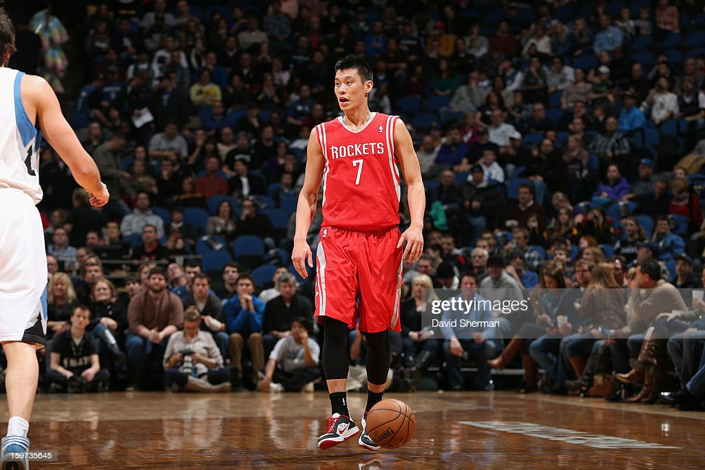 Jeremy Lin #7 of the Houston Rockets looks to passes the ball against the Minnesota Timberwolves during the game on January 19, 2013 at Target Center in Minneapolis, Minnesota.