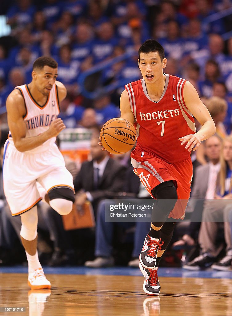 Jeremy Lin #7 of the Houston Rockets moves the ball upcourt during Game One of the Western Conference Quarterfinals of the 2013 NBA Playoffs against the Oklahoma City Thunder at Chesapeake Energy Arena on April 21, 2013 in Oklahoma City, Oklahoma. The Thunder defeated the Rockets 120-91.