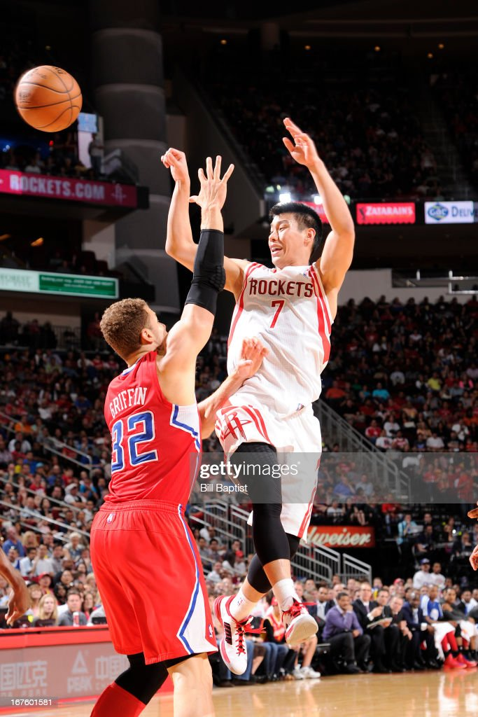 <a gi-track='captionPersonalityLinkClicked' href=/galleries/search?phrase=Jeremy+Lin&family=editorial&specificpeople=6669516 ng-click='$event.stopPropagation()'>Jeremy Lin</a> #7 of the Houston Rockets passes the ball against <a gi-track='captionPersonalityLinkClicked' href=/galleries/search?phrase=Blake+Griffin+-+Basketball+Player&family=editorial&specificpeople=4216010 ng-click='$event.stopPropagation()'>Blake Griffin</a> #32 of the Los Angeles Clippers on March 30, 2013 at the Toyota Center in Houston, Texas.
