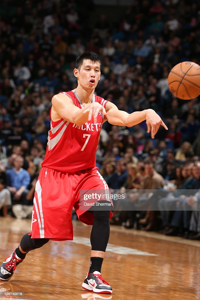 Jeremy Lin #7 of the Houston Rockets passes the ball against the Minnesota Timberwolves during the game on January 19, 2013 at Target Center in Minneapolis, Minnesota.