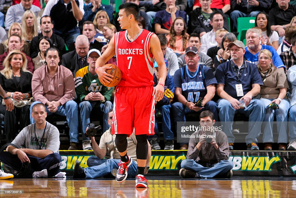 Jeremy Lin #7 of the Houston Rockets reacts while playing against the Utah Jazz at Energy Solutions Arena on November 19, 2012 in Salt Lake City, Utah.