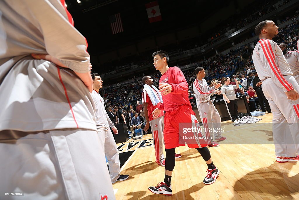 <a gi-track='captionPersonalityLinkClicked' href=/galleries/search?phrase=Jeremy+Lin&family=editorial&specificpeople=6669516 ng-click='$event.stopPropagation()'>Jeremy Lin</a> #7 of the Houston Rockets runs out before the game against the Minnesota Timberwolves on December 26, 2012 at Target Center in Minneapolis, Minnesota.