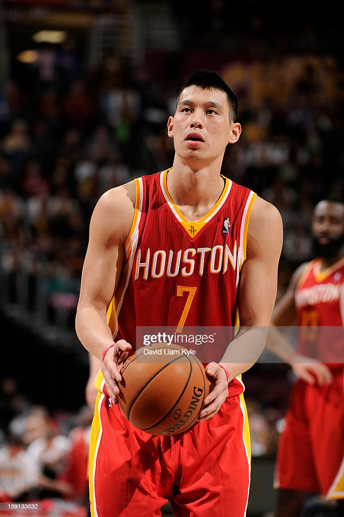 Jeremy Lin #7 of the Houston Rockets shoots a free throw against the Cleveland Cavaliers at The Quicken Loans Arena on January 5, 2013 in Cleveland, Ohio.