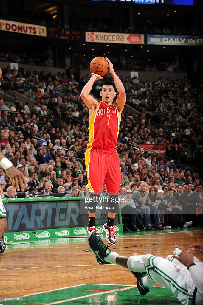 <a gi-track='captionPersonalityLinkClicked' href=/galleries/search?phrase=Jeremy+Lin&family=editorial&specificpeople=6669516 ng-click='$event.stopPropagation()'>Jeremy Lin</a> #7 of the Houston Rockets shoots a jumper against the Boston Celtics on January 11, 2013 at the TD Garden in Boston, Massachusetts.