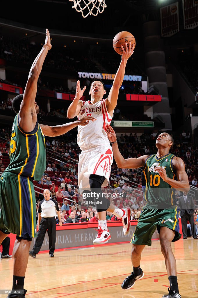 <a gi-track='captionPersonalityLinkClicked' href=/galleries/search?phrase=Jeremy+Lin&family=editorial&specificpeople=6669516 ng-click='$event.stopPropagation()'>Jeremy Lin</a> #7 of the Houston Rockets shoots a layup against <a gi-track='captionPersonalityLinkClicked' href=/galleries/search?phrase=Alec+Burks&family=editorial&specificpeople=6834208 ng-click='$event.stopPropagation()'>Alec Burks</a> #10 of the Utah Jazz on March 20, 2013 at the Toyota Center in Houston, Texas.