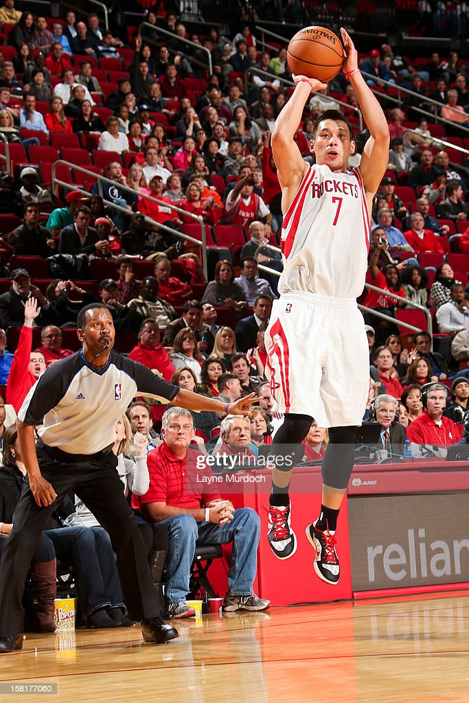 <a gi-track='captionPersonalityLinkClicked' href=/galleries/search?phrase=Jeremy+Lin&family=editorial&specificpeople=6669516 ng-click='$event.stopPropagation()'>Jeremy Lin</a> #7 of the Houston Rockets shoots a three-pointer against the San Antonio Spurs on December 10, 2012 at the Toyota Center in Houston, Texas.