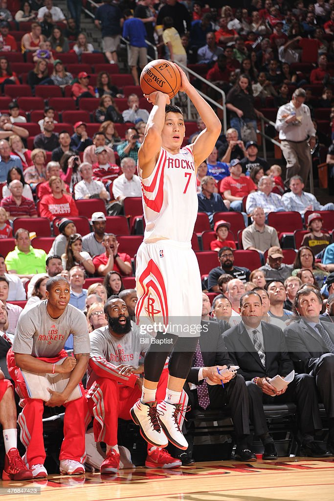 <a gi-track='captionPersonalityLinkClicked' href=/galleries/search?phrase=Jeremy+Lin&family=editorial&specificpeople=6669516 ng-click='$event.stopPropagation()'>Jeremy Lin</a> #7 of the Houston Rockets shoots against the Detroit Pistons on March 1, 2014 at the Toyota Center in Houston, Texas.