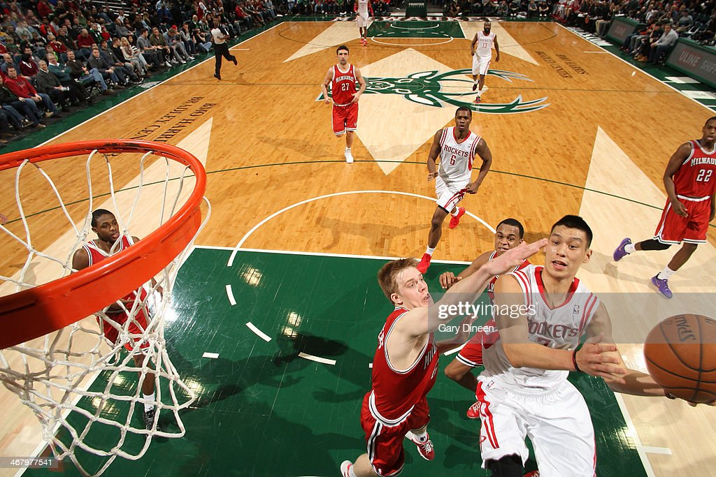 Jeremy Lin #7 of the Houston Rockets shoots against the Milwaukee Bucks on February 8, 2014 at the BMO Harris Bradley Center in Milwaukee, Wisconsin.