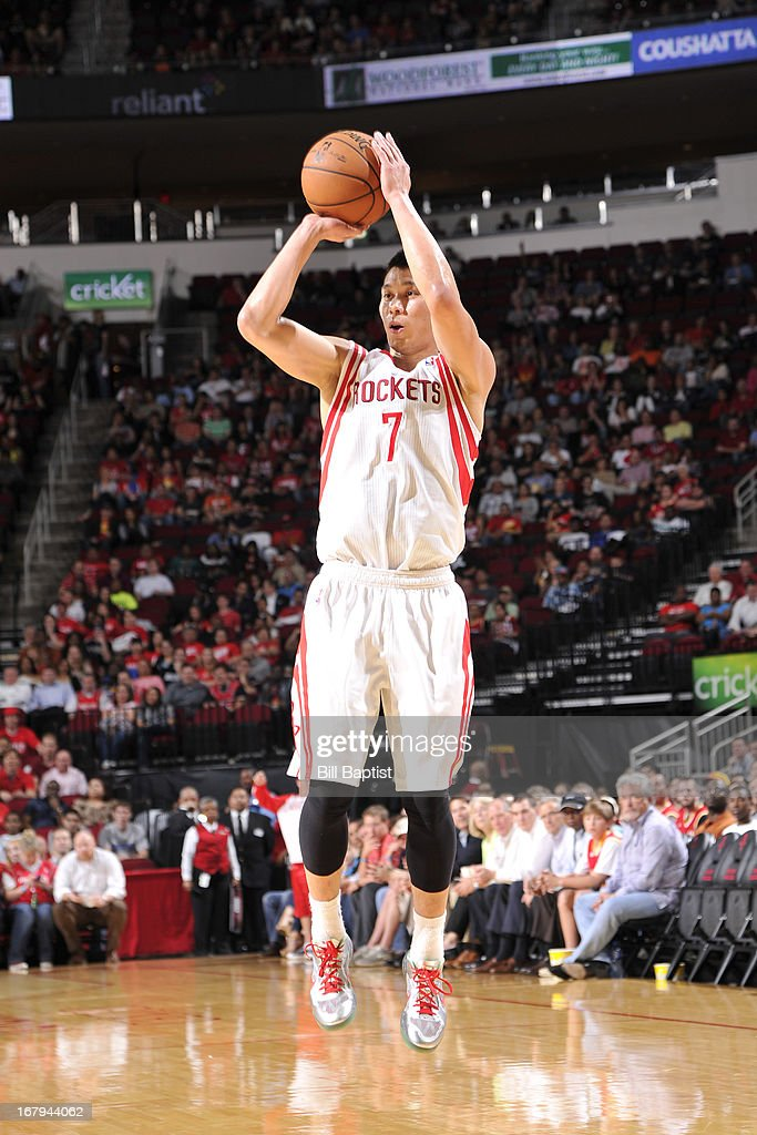 <a gi-track='captionPersonalityLinkClicked' href=/galleries/search?phrase=Jeremy+Lin&family=editorial&specificpeople=6669516 ng-click='$event.stopPropagation()'>Jeremy Lin</a> #7 of the Houston Rockets shoots against the Phoenix Suns on April 9, 2013 at the Toyota Center in Houston, Texas.