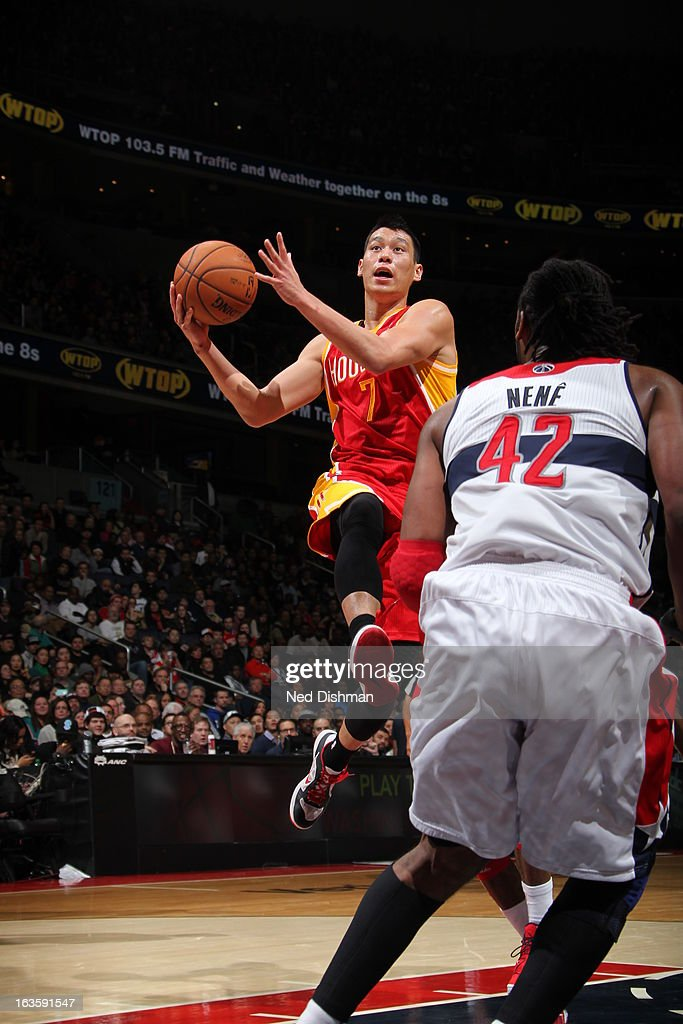 <a gi-track='captionPersonalityLinkClicked' href=/galleries/search?phrase=Jeremy+Lin&family=editorial&specificpeople=6669516 ng-click='$event.stopPropagation()'>Jeremy Lin</a> #7 of the Houston Rockets shoots against the Washington Wizards during the game at the Verizon Center on February 23, 2013 in Washington, DC.