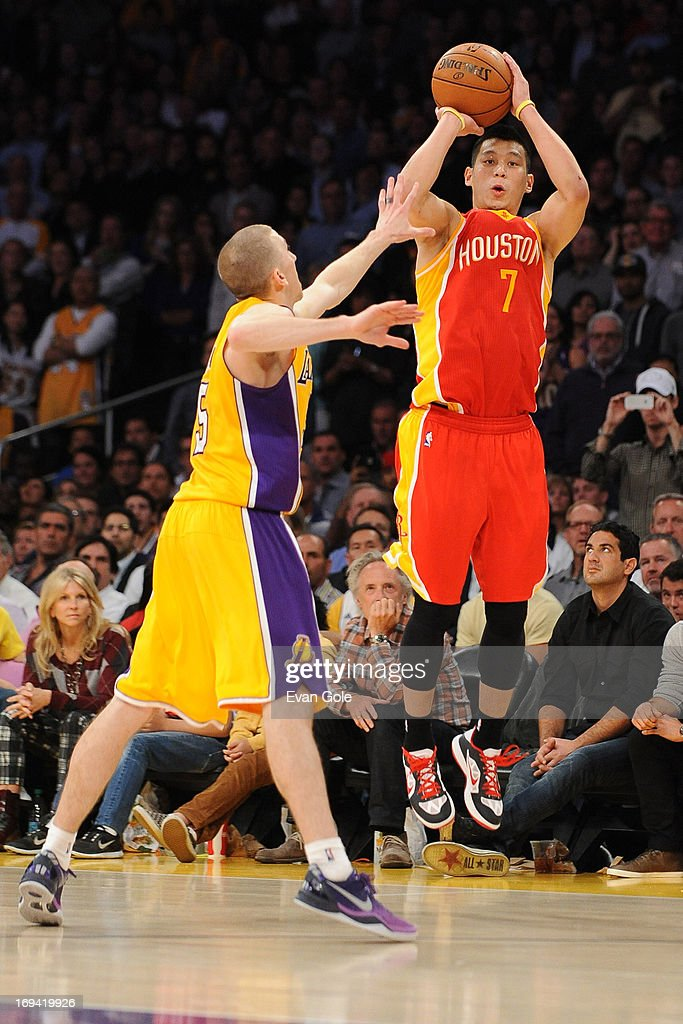 <a gi-track='captionPersonalityLinkClicked' href=/galleries/search?phrase=Jeremy+Lin&family=editorial&specificpeople=6669516 ng-click='$event.stopPropagation()'>Jeremy Lin</a> #7 of the Houston Rockets shoots the ball against the Los Angeles Lakers at Staples Center on April 17, 2013 in Los Angeles, California.