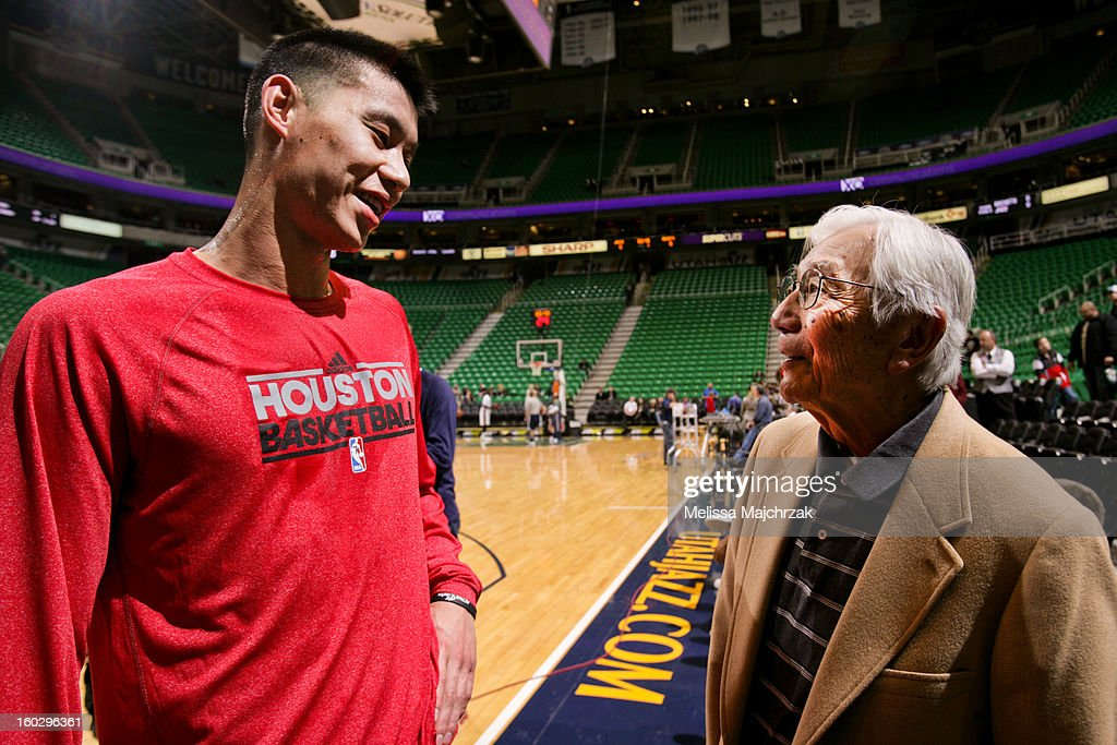 Jeremy Lin #7 of the Houston Rockets speaks with Wataru Misaka, the first NBA player of Asian descent, before his game against the Utah Jazz at Energy Solutions Arena on January 28, 2013 in Salt Lake City, Utah.