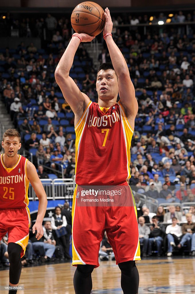 Jeremy Lin #7 of the Houston Rockets takes a foul shot against the Orlando Magic during the game on March 1, 2013 at Amway Center in Orlando, Florida.