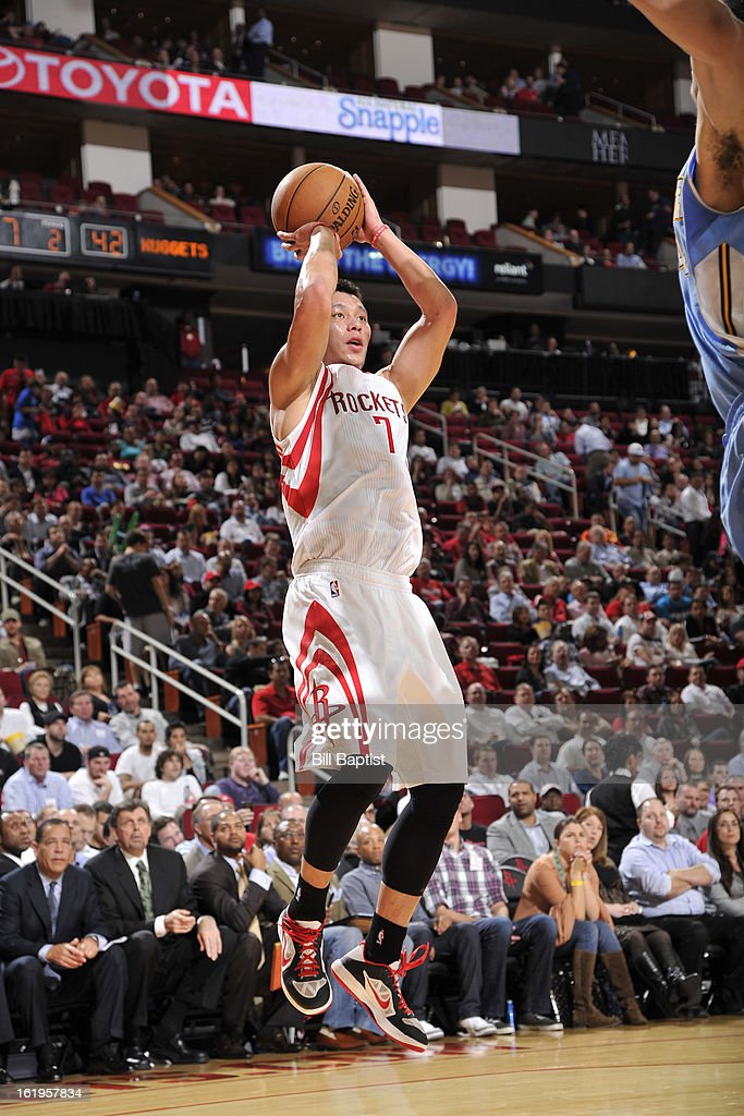 <a gi-track='captionPersonalityLinkClicked' href=/galleries/search?phrase=Jeremy+Lin&family=editorial&specificpeople=6669516 ng-click='$event.stopPropagation()'>Jeremy Lin</a> #7 of the Houston Rockets takes a shot against the Denver Nuggets on January 23, 2013 at the Toyota Center in Houston, Texas.