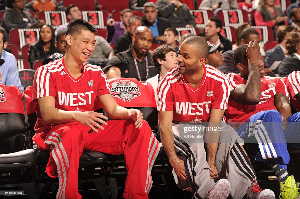 Jeremy Lin #7 of the Houston Rockets talks with Tony Parker #9 of the San Antonio Spurs during the 2013 Taco Bell Skills Challenge on State Farm All-Star Saturday Night as part of 2013 NBA All-Star Weekend on February 16, 2013 at Toyota Center in Houston, Texas.