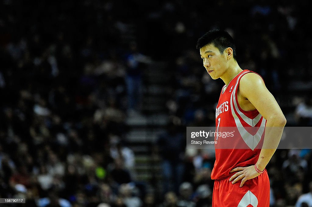 Jeremy Lin #7 of the Houston Rockets waits at the free throw line during a game against the San Antonio Spurs at AT&T Center on December 28, 2012 in San Antonio, Texas. San Antonio won the game 122-116.