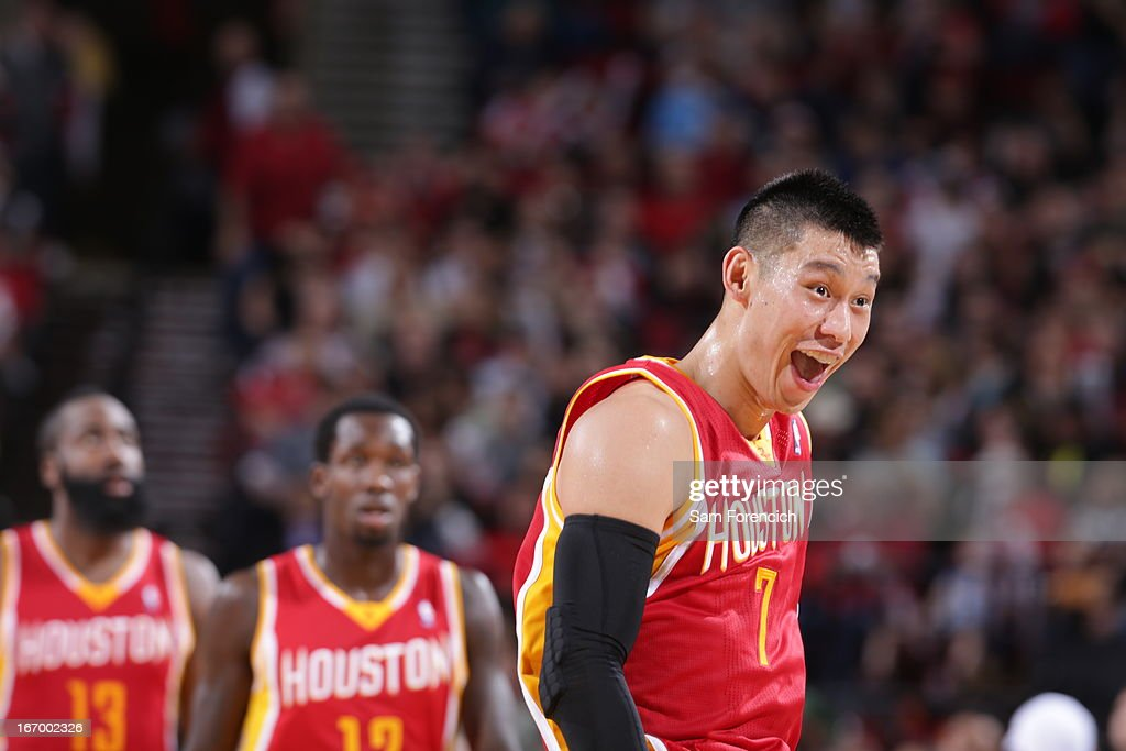 <a gi-track='captionPersonalityLinkClicked' href=/galleries/search?phrase=Jeremy+Lin&family=editorial&specificpeople=6669516 ng-click='$event.stopPropagation()'>Jeremy Lin</a> #7 of the Houston Rockets yells during the game against the Portland Trail Blazers on April 5, 2013 at the Rose Garden Arena in Portland, Oregon.