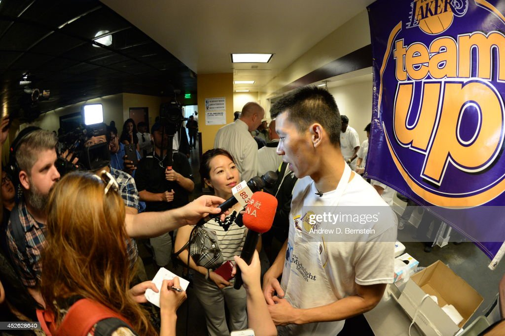 Jeremy Lin #17 of the Los Angeles Lakers speaks to the media during a Team Up Event at the Midnight Mission on July 24, 2014 in Los Angeles, California.