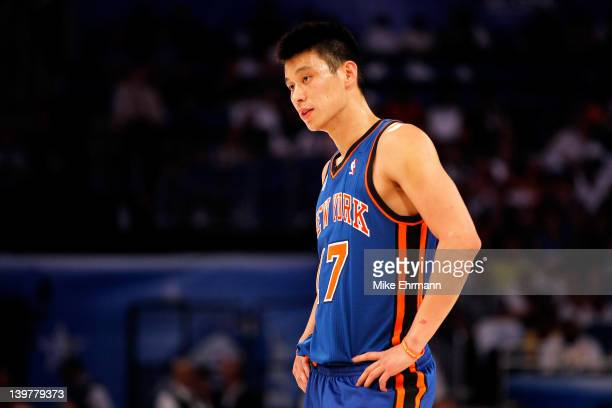 Jeremy Lin of the New York Knicks and Team Shaq looks on during the BBVA Rising Stars Challenge part of the 2012 NBA AllStar Weekend at Amway Center...
