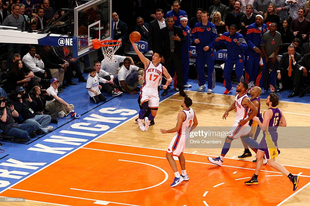 <a gi-track='captionPersonalityLinkClicked' href=/galleries/search?phrase=Jeremy+Lin&family=editorial&specificpeople=6669516 ng-click='$event.stopPropagation()'>Jeremy Lin</a> #17 of the New York Knicks drives for a shot attempt in the first quarter against the Los Angeles Lakers at Madison Square Garden on February 10, 2012 in New York City.