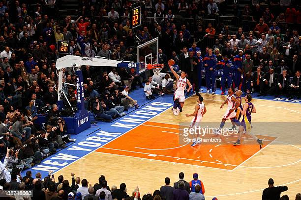 Jeremy Lin of the New York Knicks drives for a shot attempt in the first quarter against the Los Angeles Lakers at Madison Square Garden on February...