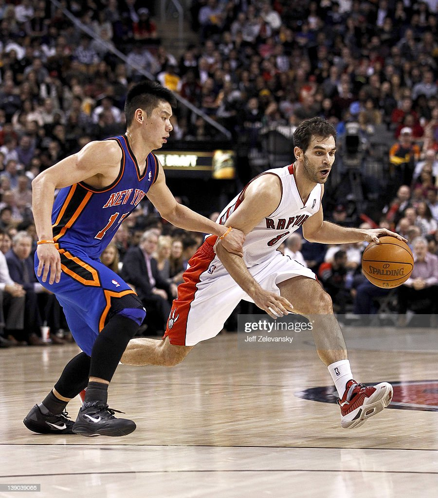 <a gi-track='captionPersonalityLinkClicked' href=/galleries/search?phrase=Jeremy+Lin&family=editorial&specificpeople=6669516 ng-click='$event.stopPropagation()'>Jeremy Lin</a> #17 of the New York Knicks guards Jose Calderon #8 of the Toronto Raptors at the Air Canada Centre February 14, 2012 in Toronto, Ontario, Canada.