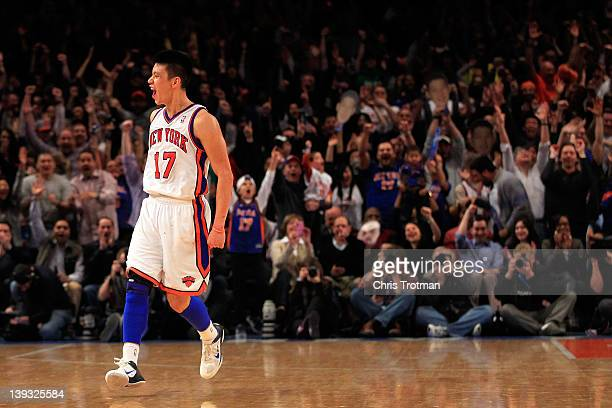 Jeremy Lin of the New York Knicks reacts after shooting a three pointer against the Dallas Mavericks at Madison Square Garden on February 19 2012 in...