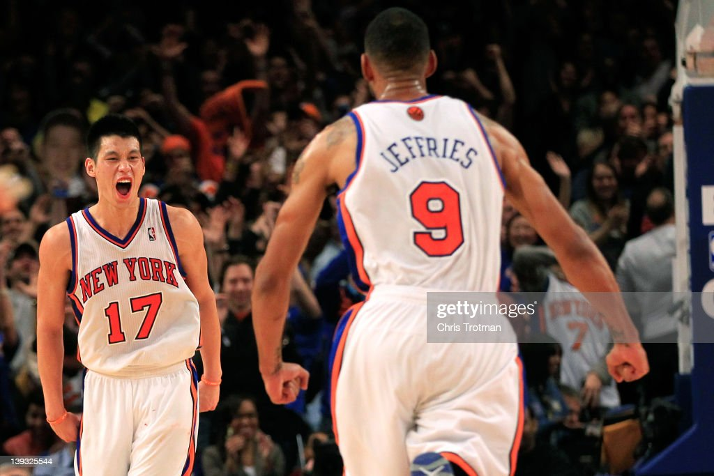 <a gi-track='captionPersonalityLinkClicked' href=/galleries/search?phrase=Jeremy+Lin&family=editorial&specificpeople=6669516 ng-click='$event.stopPropagation()'>Jeremy Lin</a> #17 of the New York Knicks reacts with teammate <a gi-track='captionPersonalityLinkClicked' href=/galleries/search?phrase=Jared+Jeffries&family=editorial&specificpeople=202548 ng-click='$event.stopPropagation()'>Jared Jeffries</a> #9 during the game against the Dallas Mavericks at Madison Square Garden on February 19, 2012 in New York City.