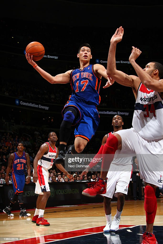 <a gi-track='captionPersonalityLinkClicked' href=/galleries/search?phrase=Jeremy+Lin&family=editorial&specificpeople=6669516 ng-click='$event.stopPropagation()'>Jeremy Lin</a> #17 of the New York Knicks shoots against <a gi-track='captionPersonalityLinkClicked' href=/galleries/search?phrase=JaVale+McGee&family=editorial&specificpeople=4195625 ng-click='$event.stopPropagation()'>JaVale McGee</a> #34 of the Washington Wizards during the game at the Verizon Center on February 8, 2012 in Washington, DC.