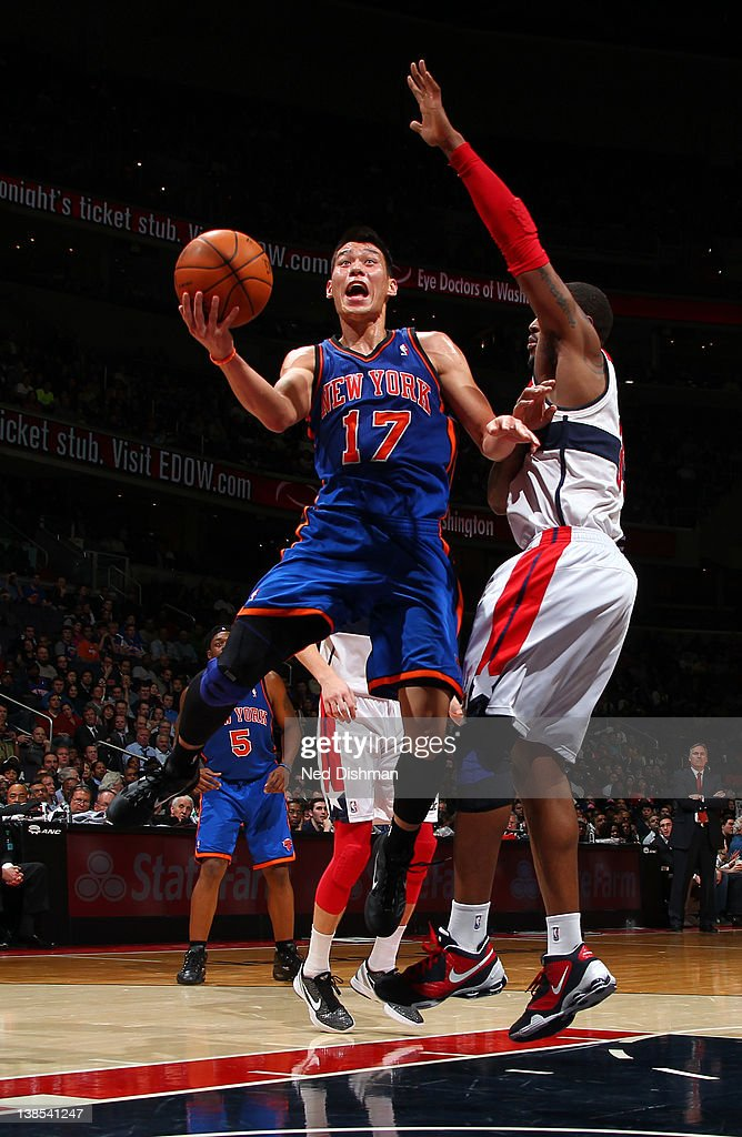 <a gi-track='captionPersonalityLinkClicked' href=/galleries/search?phrase=Jeremy+Lin&family=editorial&specificpeople=6669516 ng-click='$event.stopPropagation()'>Jeremy Lin</a> #17 of the New York Knicks shoots against Trevor Booker #35 of the Washington Wizards during the game at the Verizon Center on February 8, 2012 in Washington, DC.