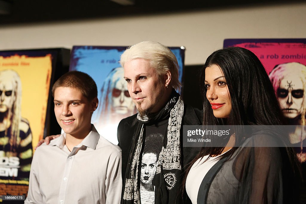 Jeremy Lowery, musician <a gi-track='captionPersonalityLinkClicked' href=/galleries/search?phrase=John+5&family=editorial&specificpeople=716282 ng-click='$event.stopPropagation()'>John 5</a> and Rita Lowery arrive at Rob Zombie's 'The Lords Of Salem' Los Angeles premiere at AMC Burbank 16 on April 18, 2013 in Burbank, California.