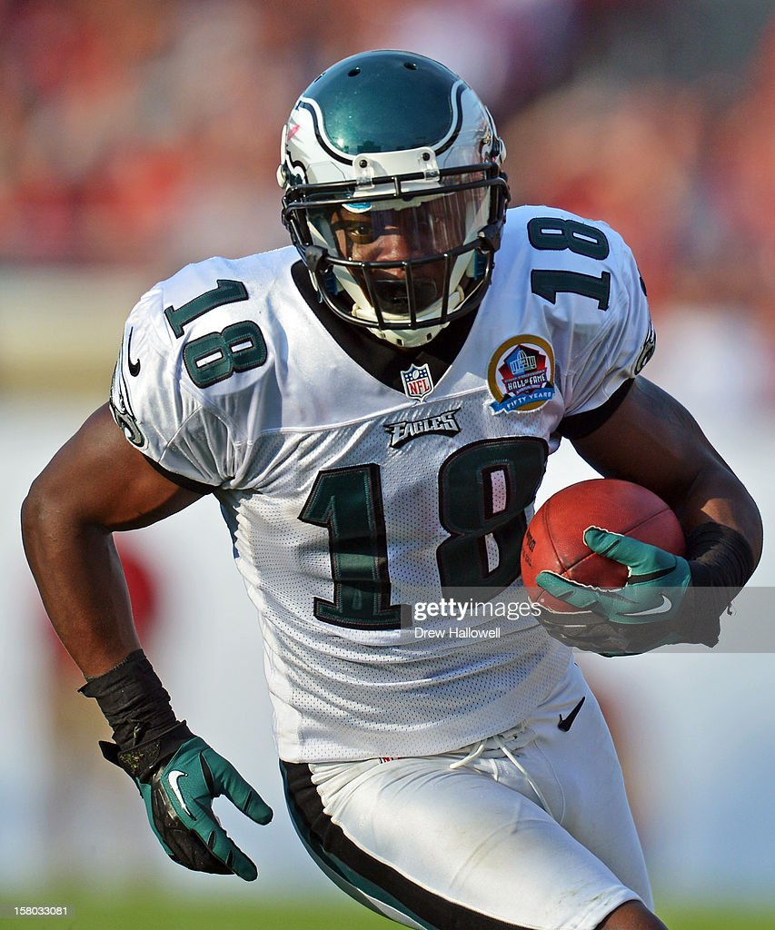 <a gi-track='captionPersonalityLinkClicked' href=/galleries/search?phrase=Jeremy+Maclin&family=editorial&specificpeople=4516851 ng-click='$event.stopPropagation()'>Jeremy Maclin</a> #18 of the Philadelphia Eagles runs after a catch during the game against the Tampa Bay Buccaneers at Raymond James Stadium on December 9, 2012 in Tampa, Florida. The Eagles won 23-21.