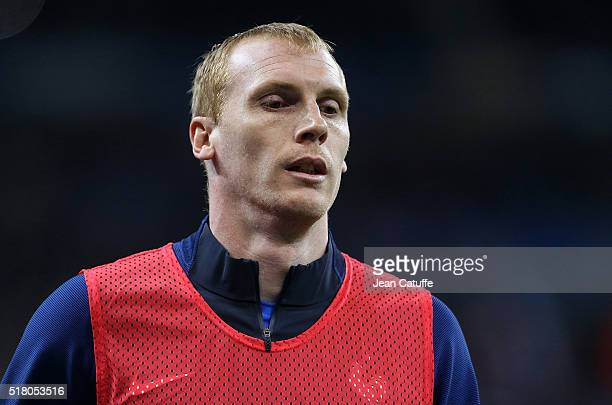 Jeremy Mathieu looks on during the international friendly match between France and Russia at Stade de France on March 29 2016 in SaintDenis near...